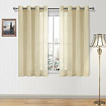 DWCN Transparente Gardinen Beige Ösen Fenster