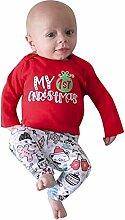 Dwevkeful Weihnachten Baby Tops+Hosen+Hut 3 Stück