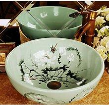 dwthh Antike handbemalte Lotus Badezimmer Keramik