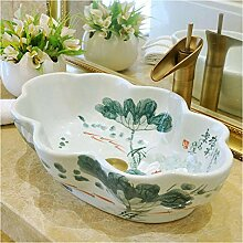 dwthh Handbemalte Lotus Flower Counter Top