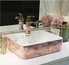 dwthh Pink Square Art Lavabo Waschbecken