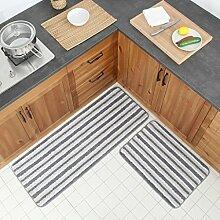 DWW Küchenteppiche Set Striped ultrafeine Faser
