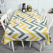 DWW-Tischdecke Baumwolle Leinentischdecke Nordic Wohnzimmer rechteckige TV-Schrank Tischdecke verbläßt nicht Anti-Falten ( Farbe : Pattern 4 , größe : 140*180cm )