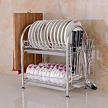 DXG&FX Edelstahl geschirrablage Tassenhalter Küche regal lagerung tisch kleidung teller rack-B