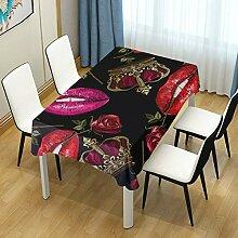 DXG1 Tischdecke mit Blumenmuster, rechteckig,