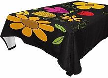 DXG1 Tischdecke mit Blumenmuster, schwarz, 152 x