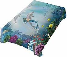 DXG1 Tischdecke mit Meerjungfrau-Motiv, 137 x 137