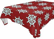 DXG1 Tischdecke mit nautischem Ruder, Rot, 137 x
