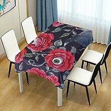 DXG1 Tischdecke mit Rosen-Motiv für Esstische,
