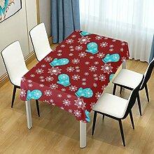 DXG1 Tischdecke mit rotem Schneeflocken-Motiv für