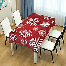 DXG1 Tischdecke mit Schneeflocken-Motiv, Ro