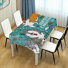 DXG1 Tischdecke mit weihnachtlichem Hund, blau,
