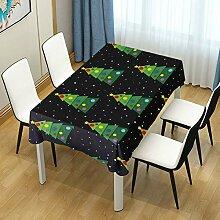 DXG1 Tischdecke mit Weihnachtsbaum-Motiv, Schwarz