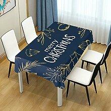 DXG1 Tischdecke mit Weihnachtsmotiv, Marineblau,
