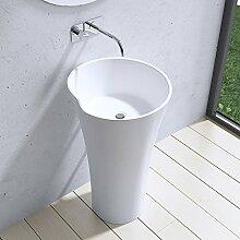 DxH: 52,3x90 cm Design Standwaschbecken Colossum30, aus Gussmarmor, Waschtisch, Waschplatz, Stand, Säule,