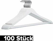 DXP 100 Stück, Weiß Holz Kleiderbügel, mit Rutschfestem Hosenstange, 360 Grad drehbar Neu (100) HG03 weiss