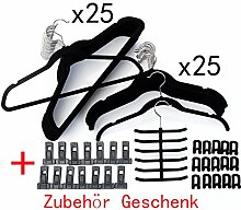 DXP 50 Stück Rutschfeste Magic Kleiderbügel Raumspar Flordecke Schwarz KZR01