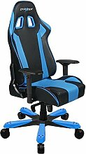 DXRacer Gaming Sessel, Lederimitat, schwarz / blau, 93 x 73.5 x 37.3 cm