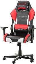 DXRacer Original Drifting D61 Gaming Stuhl für PC/PS4/XBOX ONE, ergonomischer Schreibtischstuhl aus Kunstleder, Schwarz-Weiß-Ro
