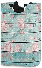 DYCBNESS Wäschesack,Blumenblume auf rustikaler