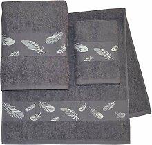 Dyckhoff Handtuch Set Feder mit schöner Bordüre