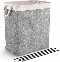 DYD Faltbarer Wäschekorb mit Griffen Leinen
