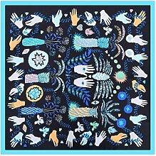 DYEWD Schals Frau Schal, Seidenschal, neue Sommer Schal, Mode Print Schal, Geschenk Schal, Sonnenschutz Schal, schwarz 60 * 60cm