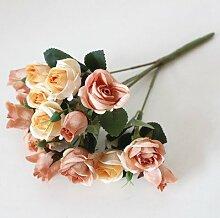 DYF Künstliche Blumen 15 Kopf Herbst kleine Rose Home Hochzeit Dekoration, Licht Café