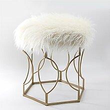 DYFYMX Mode Hocker Schmiedeeisen Schuhbank europäischen Kreative Lange Haare Stuhl Stuhl Schlafzimmer Hocker Eitelkeit Hocker Make-up Hocker Möbel (Farbe : C)