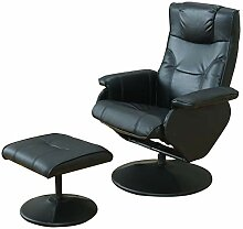Dynamic24 Kunstleder Relax Sessel + Hocker
