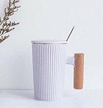 DYTJ-Mugs Einfache Gold Holzgriff Keramikbecher