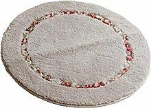 DZW GepräGt Teppiche Runden LäNdlichen Stil SchöN Schlafzimmer Teppich Badezimmer TüRmatten Rutschfest FußAuflage , pink , 70cm*70cm