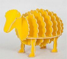 DZW kreative Bücherregal Schaf Bookshelves Tier Modelling Fashion Home Regale Wohnzimmer-Dekoration aus Holz 55 * 98 * 64cm , solid wood, kodak, yellow, large, 0.64 meters tallDekoration holzig