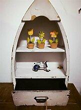 DZW Mediterranen Stil Weiß Holz Boot Wandhalterung Desktop Dual Zweck Racks, 51 * 31 * 13 cm, Weiß?Simple