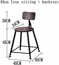 DZW Retro Küche Hocker mit Metall Beine High Hocker Bar Hocker Sitz Massivholz Sitze Frühstück Bar, Höhe 45cm / 65cm / 75cm / 80CM / 85CM für Küche Counter Bar , 15 Glatt und stark