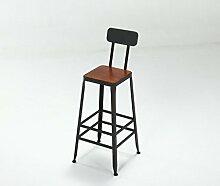 DZW Retro Küche Hocker mit Metall Beine High Hocker Bar Hocker Leder Sitz Frühstück Bar, Höhe 45cm & 65cm & 75cm für Küche Counter Bar , 2 , D Glatt und stark