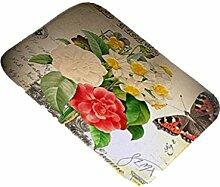 DZW Teppiche Türmatten Wohnzimmer Küche Teppich Zuhause Dekoration Pflanze Blumen Büromatten 40CM * 60CM , 1
