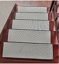 DZW Treppenmatten Sommer- Zuhause Eisseide Teppiche FußAuflage Massivholz Schrittmatten Flachs Rutschfeste Matte Freier Kleber Teppich 85cm*25cm , silver