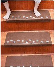 DZW Treppenmatten Zuhause Teppich Freier Kleber Selbstklebend Leuchtend Massivholz Höflich Rutschfest Teppiche Fußauflage Schrittmatten Leuchtend Fluoreszenz 55cm * 22cm * 4.5cm , bear claw coffee