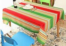 DZW Wasserdichte Spritzschutz Tischdecke Gestreiftes Rechteckiges Oblong Polyester FüR Restaurant KüChe Essen Party Dekor Kaffetisch , 132*178cm square interior money , colorful, Kosteneffizien