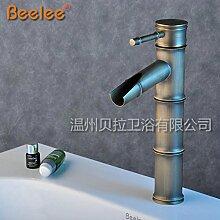 DZXYA Bambus retro heiße und kalte Tauchbecken Classic Single Loch auf dem Waschbecken Waschbecken Wasserhahn