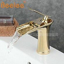 DZXYA Einzelne Bohrung Wasserfall heiße und kalte Tauchbecken Classic Single Loch auf dem Waschbecken Waschbecken Wasserhahn
