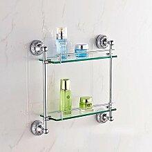 DZXYA Europäischen Stil moderne Doppelzimmer Bad Glas Regale Bad-Accessoires , silver