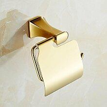 DZXYA Kupfer und Gold plattiert Golden Toilettenpapier Halter Bad-Accessoires (14 * 12 * 11 cm)
