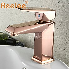 DZXYA Rose gold heiße und kalte Tauchbecken Classic Single Loch auf dem Waschbecken Waschbecken Wasserhahn