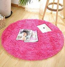 DZYZ Runde Einfarbig Teppich Für Wohnzimmer Große Teppiche Dekoration , rose red , 100*100cm