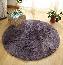 DZYZ Runde Einfarbig Teppich Für Wohnzimmer Große Teppiche Dekoration , silver gray , 160*160cm