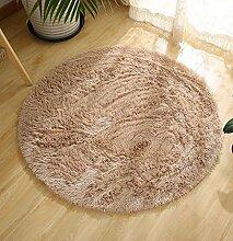 DZYZ Runde Einfarbig Teppich Für Wohnzimmer Große Teppiche Dekoration , beige , 100*100cm