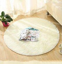 DZYZ Runde Einfarbig Teppich Für Wohnzimmer Große Teppiche Dekoration , creamy-white , 160*160cm