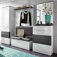 e-combuy Möbel Garderoben-Set in weiß Hochglanz,